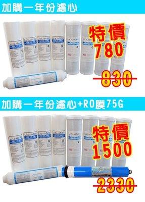 【清淨淨水店】美國Liuqatec進口一年份NSF RO濾心含RO膜10支裝,5道式逆滲透適用,促銷價1450元