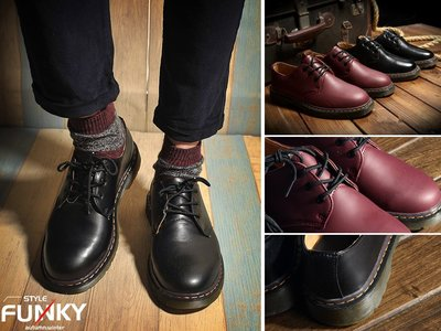 ☆Funky 小版男裝☆ 獨家預購 17 A/W新品 歐美復古風格 馬汀造型 圓頭綁帶硬皮低筒皮鞋 增高牛筋厚底 情侶鞋