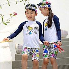 兒童泳裝╭~°安可來福~F48泳衣花巧塗鴉兒童泳衣長袖防曬小朋友游泳衣中大童泳裝正品,售價