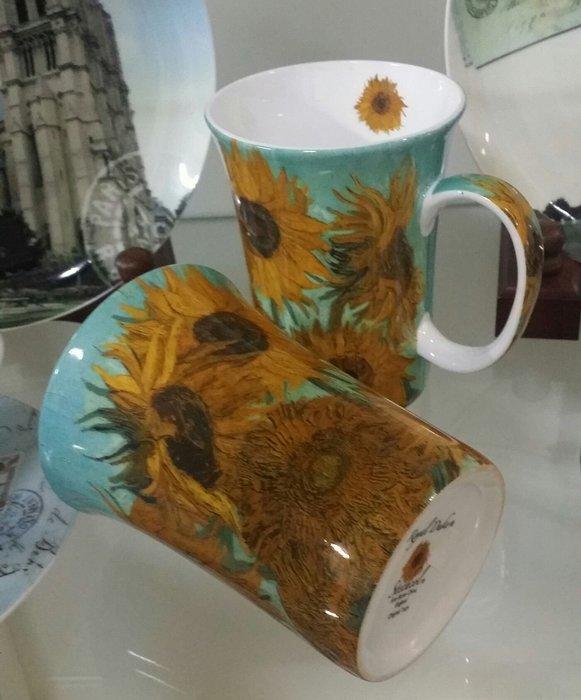 美生活館---全新進口經典名畫 向日葵 骨瓷馬克杯 果汁杯 牛奶杯 咖啡杯兩件組禮盒 送禮收藏