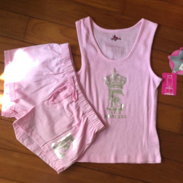 美國Club Libby Lu 小女孩粉色背心短褲套裝組 皇冠圖案無袖背心 短褲(8-10