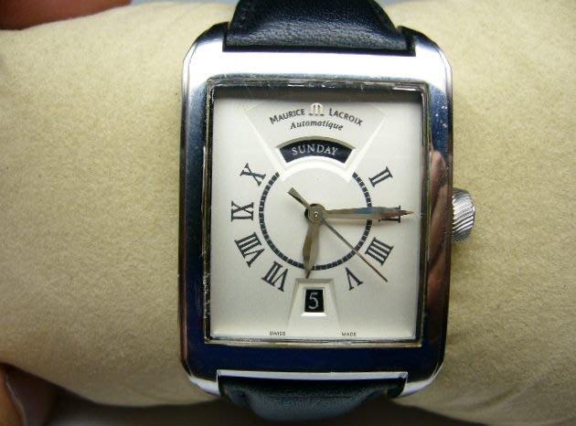 [吉宏精品交流中心]MAURICE LACROIX 艾美 奔濤 長方形 自動機械 皮帶 男錶
