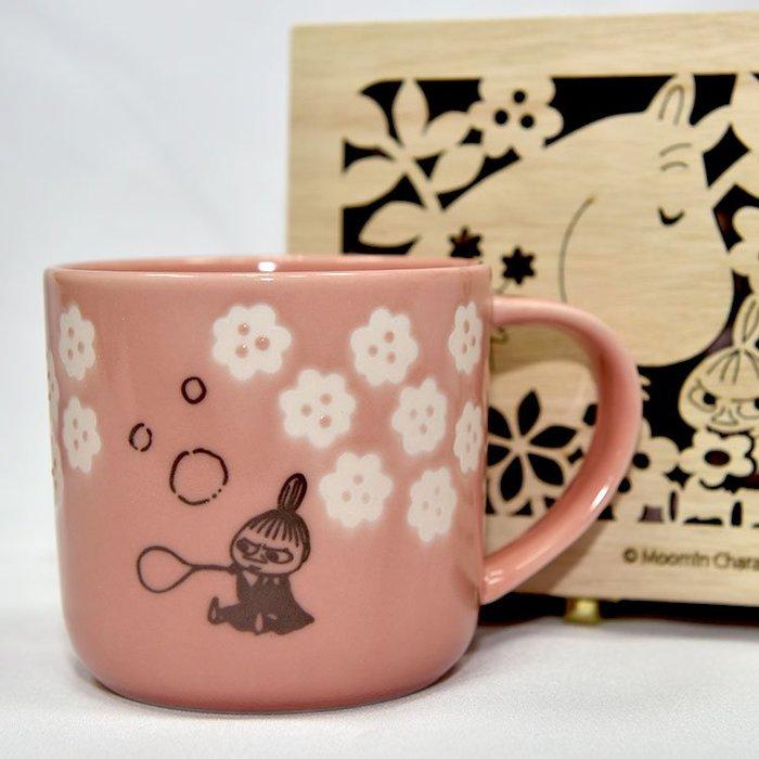 MOOMIN 嚕嚕米 小不點亞美 陶瓷馬克杯 鏤空花紋木盒 正版 日本製