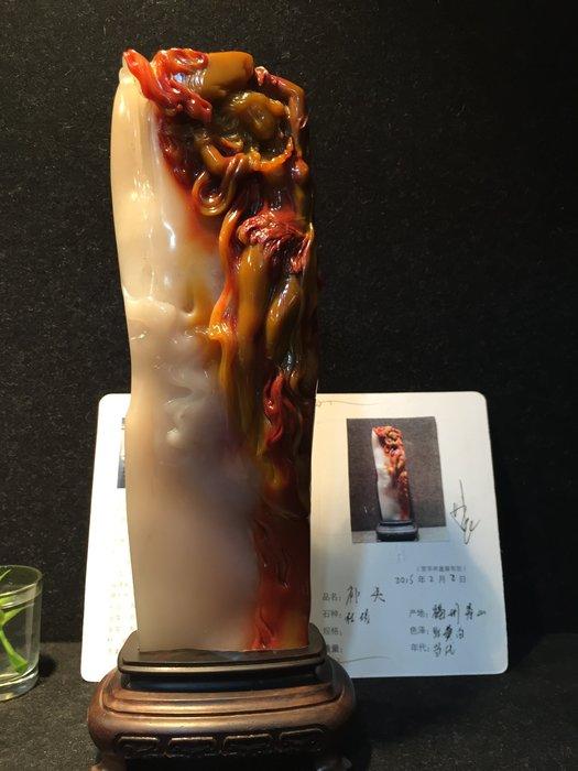 東南2014年拍賣精品~~林飛真跡~~ 國寶壽山石精品擺件----三彩結晶杜陵石[飛天] 附大師作品合照  親筆簽名照