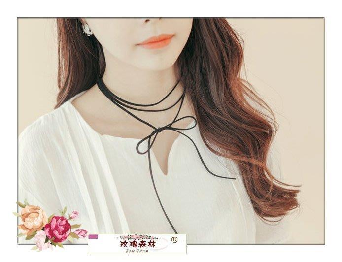 玫瑰森林- ☆°美麗嚴選~ 美麗嚴選~ 簡約 氣質 黑色絨繩蝴蝶結 項鍊款   特