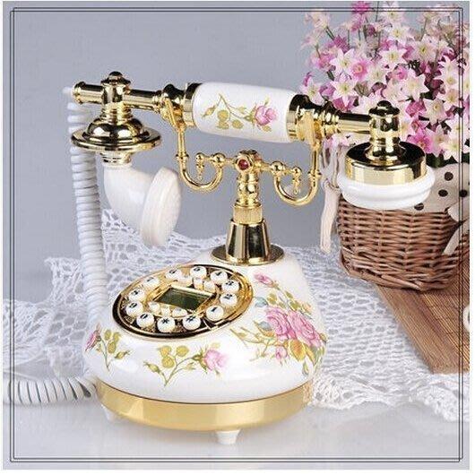 313【歡樂購】陶瓷 復古 電話機 固定電話座機 歐式  田園 家用 仿古電話機