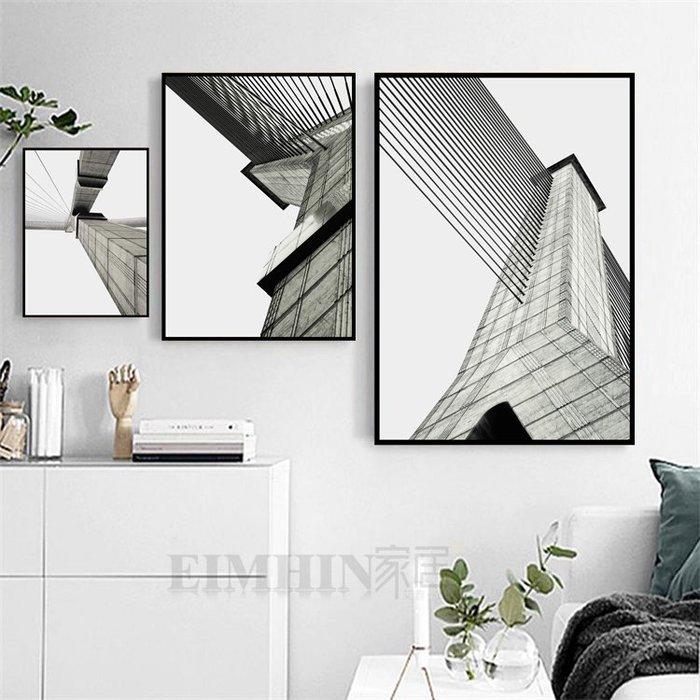 ins北歐客廳沙發背景牆裝飾畫餐廳工業風格掛畫臥室建築風景壁畫(4款可選)