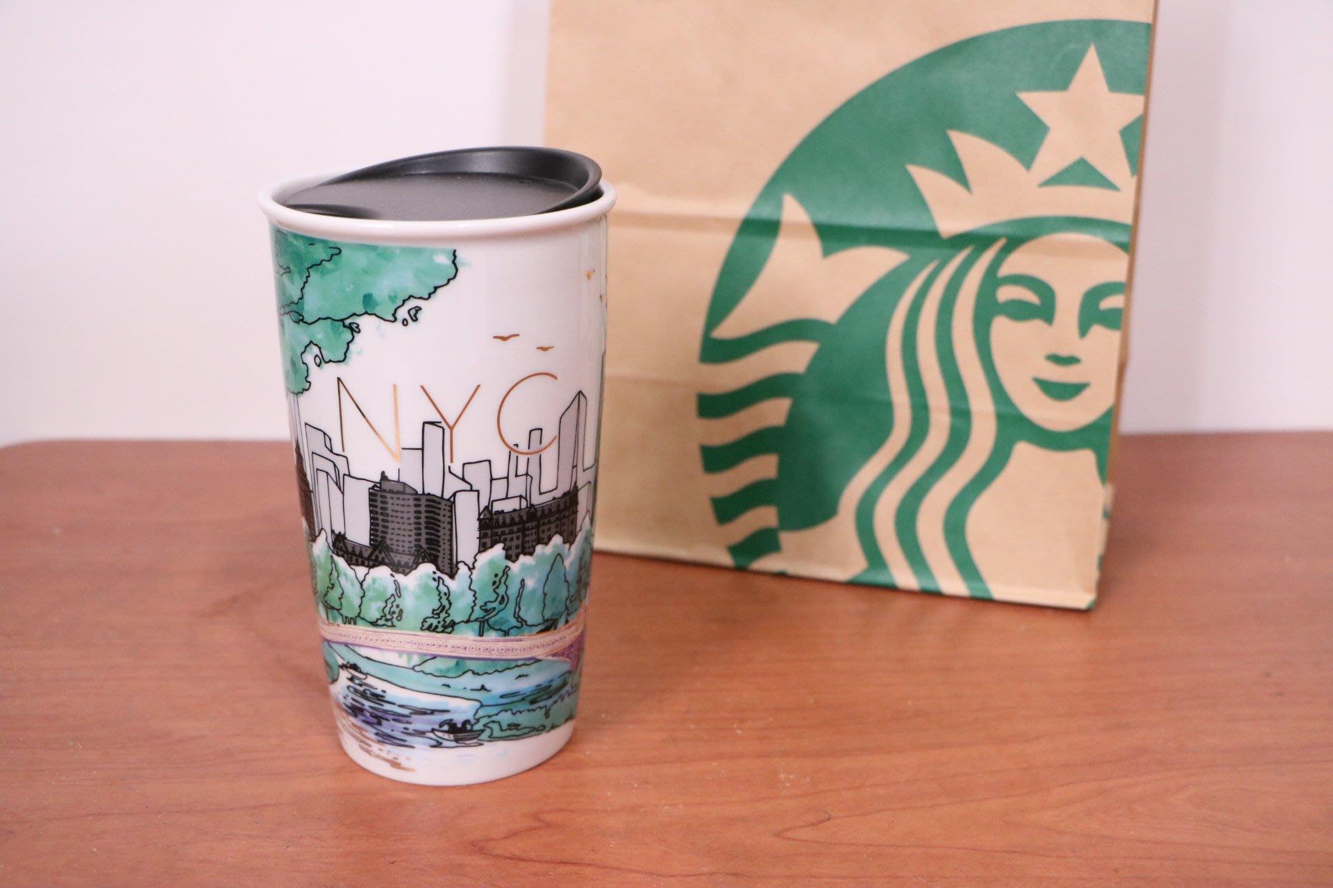 星巴克STARBUCKS- 美國 紐約 DW 雙層陶瓷保溫馬克杯 綠蔭城市款 355ml(12oz)