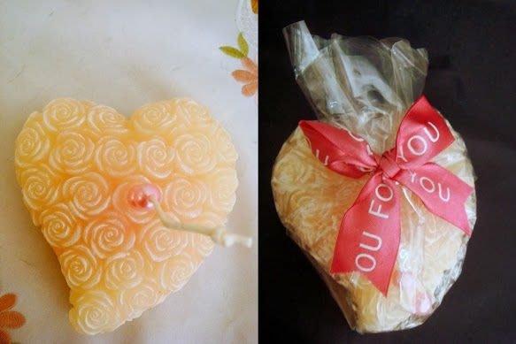 ~蘇菲亞精品傢飾~浮雕玫瑰乳白色心型蠟燭/婚禮佈置