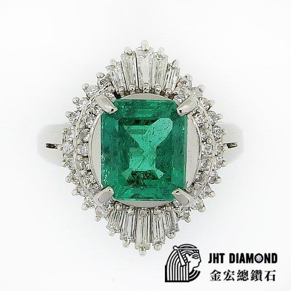 【JHT金宏總珠寶/GIA鑽石專賣】天然祖母綠鑽石戒指-E2.45ct-D:0.60ct附證書 (JB30-A09)