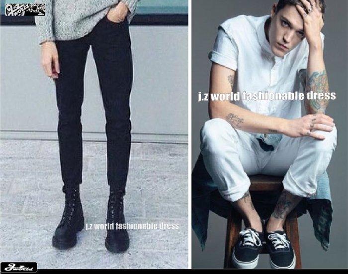 [ j.z world 小版男裝 ] 獨家預購款 特價中 GD時尚簡約萬年基本款 素色素面純色彈性合身 仿牛仔長褲 2色