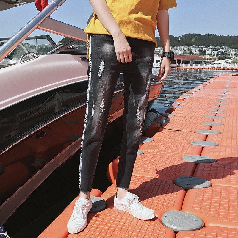 FINDSENSE H1 2018 夏季 牛仔褲  水洗牛仔褲 休閒褲 男 九分褲 潮 男褲