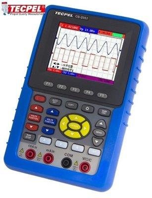 TECPEL 泰菱 》OS 2062 60MHz 掌上型 數位 示波器 +三用電錶 掌上型示波器 送32G隨身碟