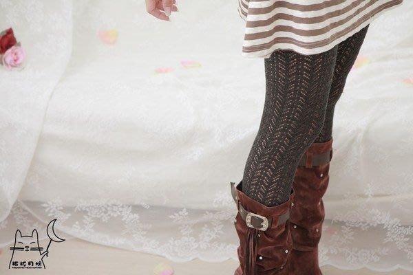 【拓拔月坊】日本製 MORE 森林女孩 洞洞波浪 混羊毛褲襪 秋冬款~現貨!