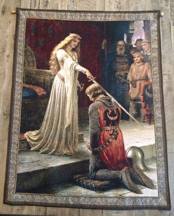 【波賽頓-歐洲古董拍賣】歐洲/西洋古董 法國早期 19世紀 蘭斯洛特爵士和奎尼韋雷女王壁毯/掛毯(100x77cm)