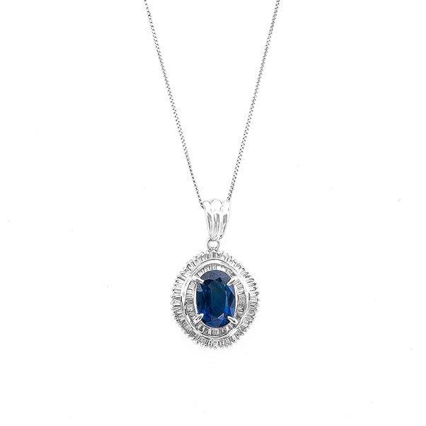 【JHT 金宏總珠寶/GIA鑽石專賣】2.42ct天然藍寶鑽墜/材質:PT900(JB26-B12)