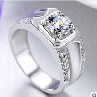 鑽戒時尚帥氣925純銀鍍鉑金指環 鑲嵌...