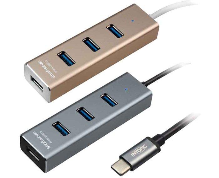【開心驛站】INTOPIC 廣鼎 USB3.0 Type-C高速集線器 HBC-390 金色/灰色