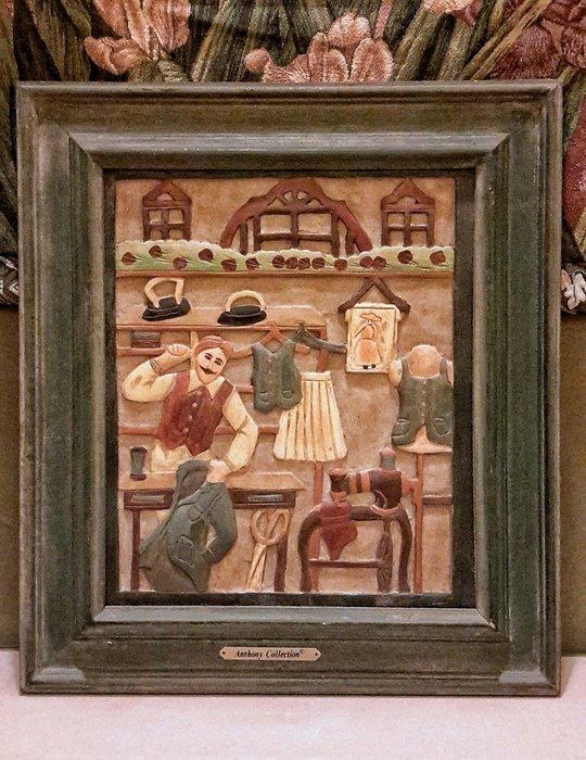 【波賽頓-歐洲古董拍賣】歐洲/西洋古董 英國早期 19世紀 老件木雕 手工彩繪大衛的衣店浮雕擺飾(尺寸:43×49×3公分)