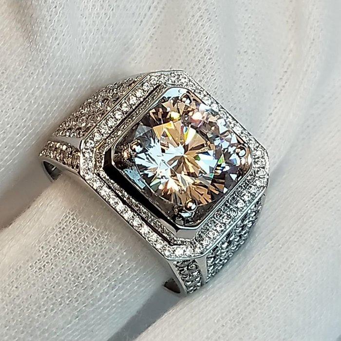 鑽戒霸氣滿天星 925純銀鍍鉑金指環 鑲嵌高碳鑽5克拉男士戒指 精工超寬版滿鑽戒高碳仿真鑽石莫桑石訂做莫桑鑽寶超低價出清
