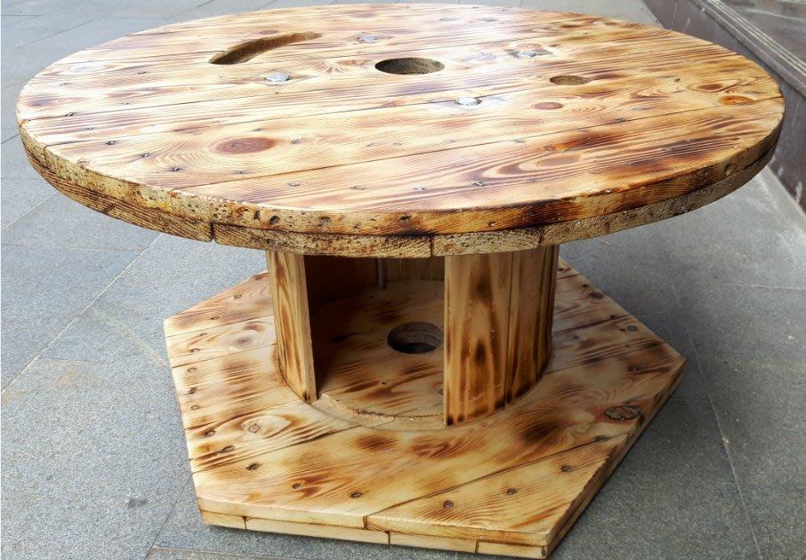 工業風  茶几  木桌 電纜木輪軸  桌 復古 造型桌  圓桌