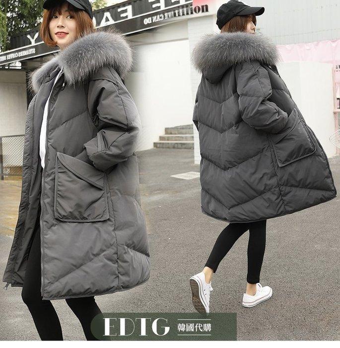 【  EDTG  】NEW超大真毛領大毛領口袋羽絨衣長款大衣外套女神級外套黑色/焦糖色/灰色