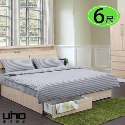 床底【UHO】艾美爾後拉式6尺雙人加大抽屜床底 免運費 HO18-409-6