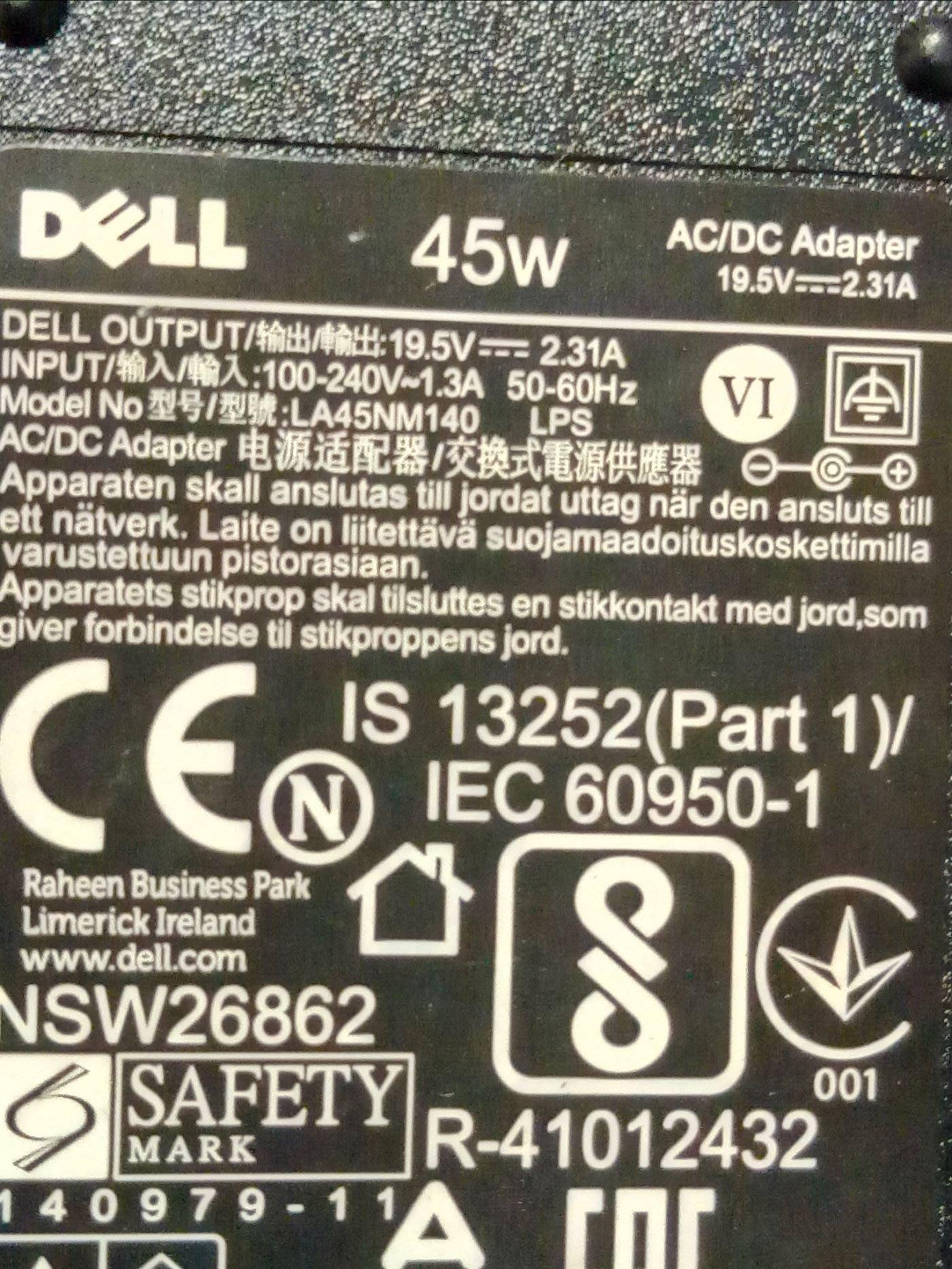 DeLL 原廠變壓器 45w 19.5v 2.31A
