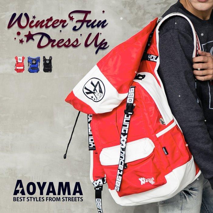 街頭潮流 潮牌X 可拆式連帽設計防水後背包/電腦包【A90104】青山AOYAMA