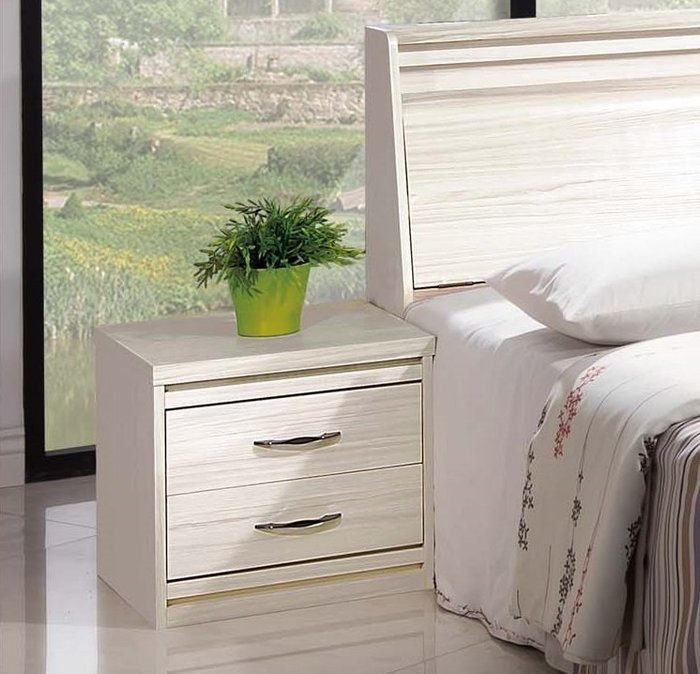 【DH】商品貨號E526-5商品名稱《馬克斯》49CM木心板白雪松床頭櫃(圖一)台灣製.可訂做.新品特價