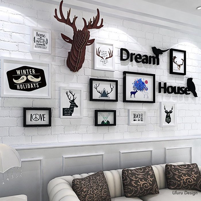 北歐風格 loft輕工業風 實木麋鹿/實木相框 照片牆 客廳 主牆 相片牆 牆壁掛飾 壁飾掛牆
