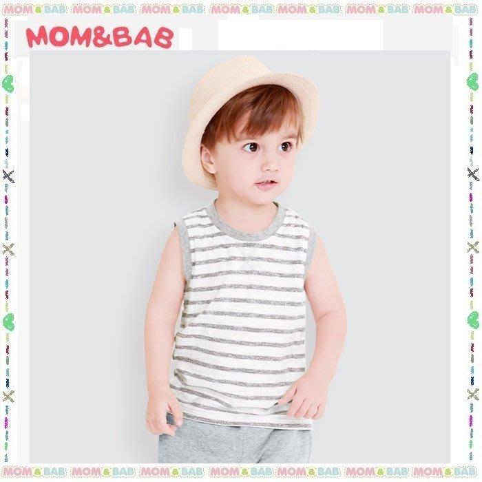 ❤大老婆小寶貝❤夏天mom and bab 涼感竹節棉純棉條紋背心~24m、3T、4T、5T、6T、7T