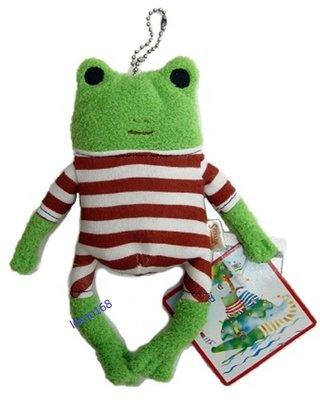 日本愛旅行的青蛙紅格紋S號玩偶吊飾組[新到貨   ]