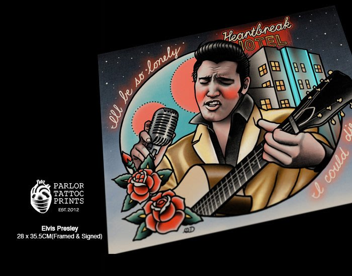 GOODFORIT / 加州Parlor Tattoo Elvis Presley貓王艾維斯普利斯萊刺青畫作/含框