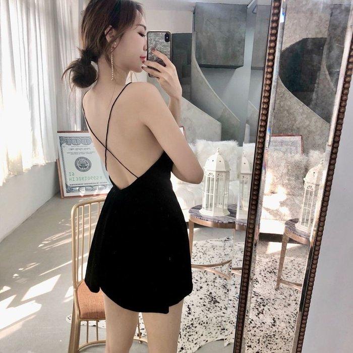 Modem Girl♥100%實拍 復古 交叉美背絲絨連身褲裙洋裝