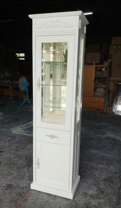 美生活館 全新客訂古典風格設計師款全原木 玻璃櫃 (附燈 ) 純白色 單抽雙門 展示櫃 玻璃櫃 書櫃 收納 店面 民宿