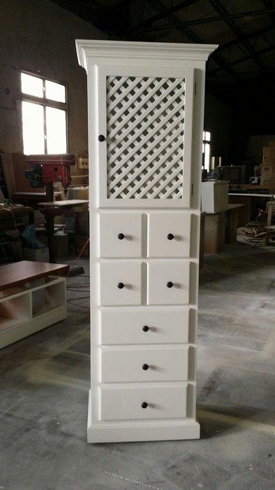 美生活館 鄉村家具訂製 全實木純白色單門七抽櫃 收納櫃 玄關櫃 夾縫櫃 置物櫃