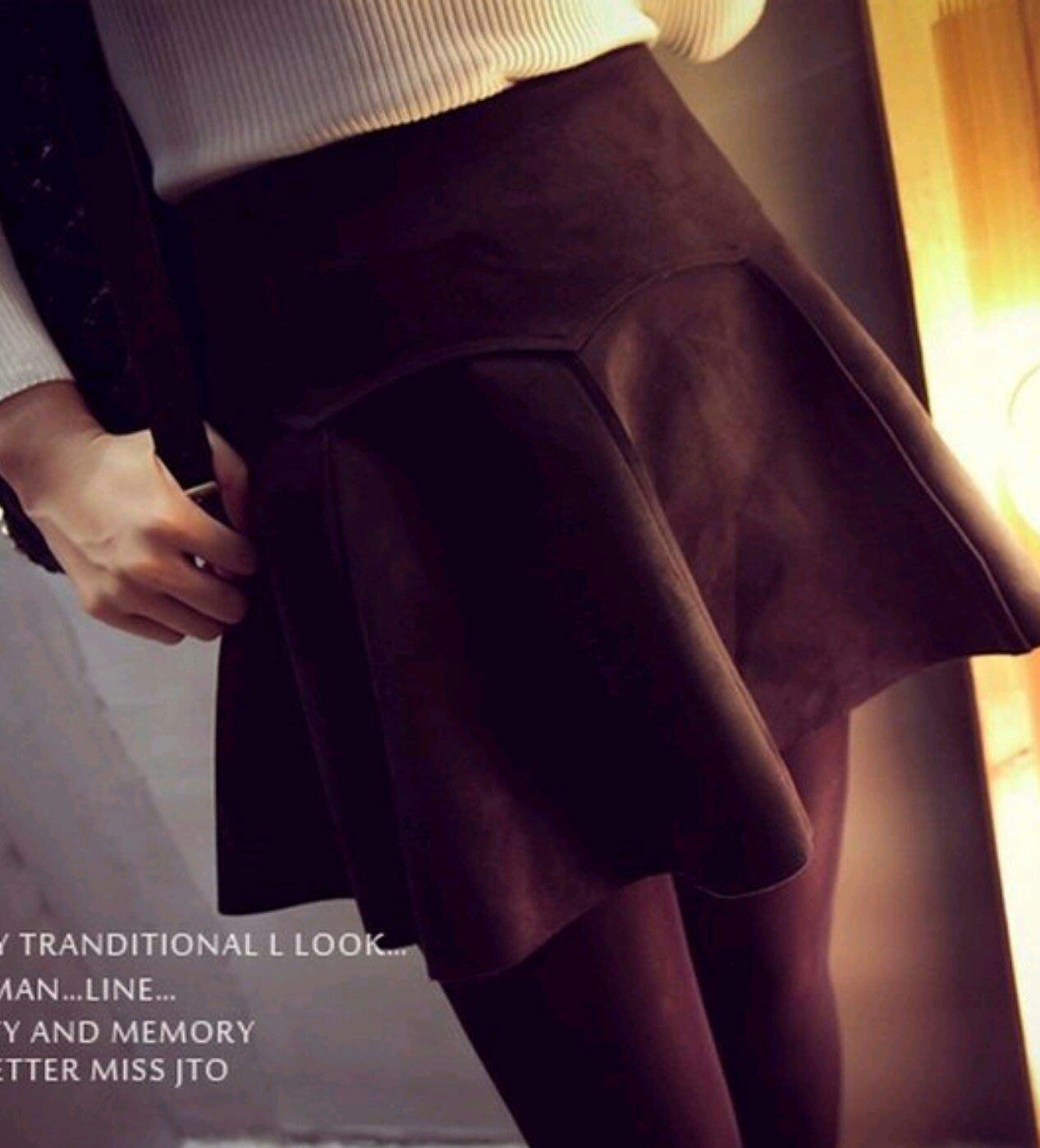 時尚挺版顯瘦百細絨面絨布翹臀短裙復古高腰魚尾圓裙波浪微笑曲線圓裙迷你(黑)1元起標標樂