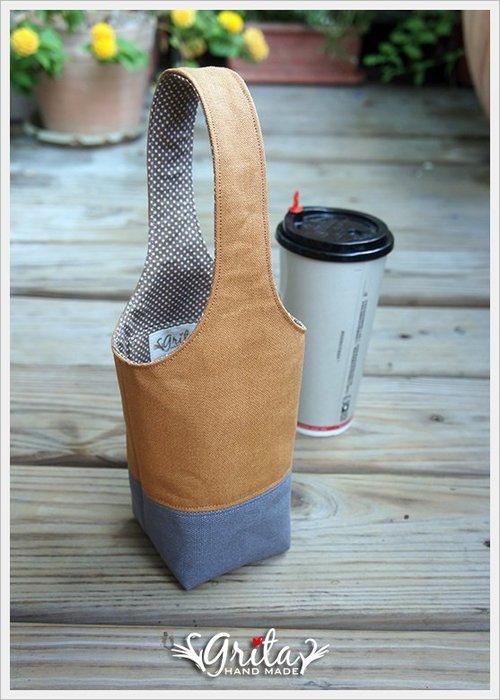 ♥grita's handmade♥手作環保飲料提袋/手搖杯/環保杯袋/隨身提包/帆布包—土黃+灰雙色(預購)