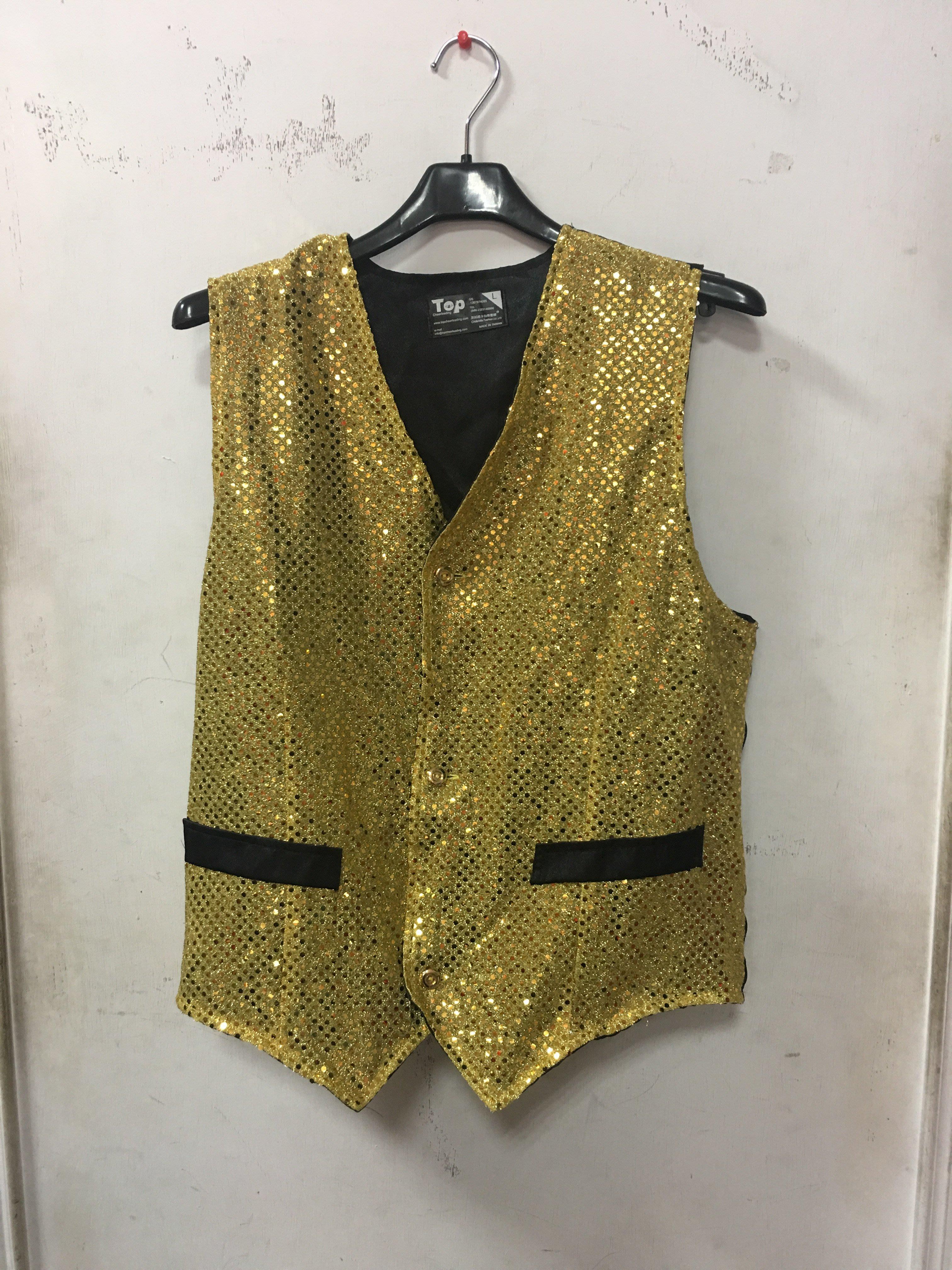艾蜜莉舞蹈用品*表演服裝*男士亮片馬甲背心-購買中古價$350元/出租價$150元