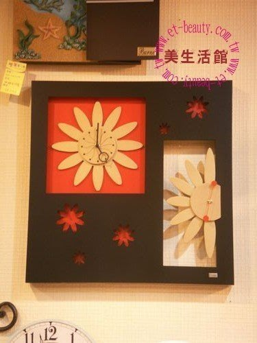 美生活館三館-- 現代款紅黑金掛鐘-- 花團錦簇時鐘--刺激買氣 促銷優惠2380元含運