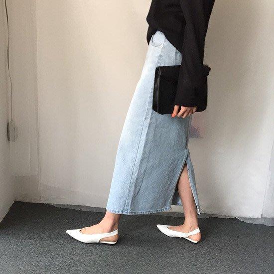 Modem Girl♥100%實拍 推薦 文青少女 好板型 高腰開叉牛仔裙