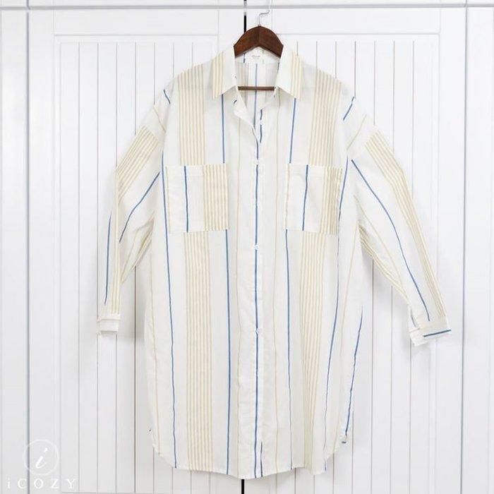 [正韓]率性長版條紋襯衫