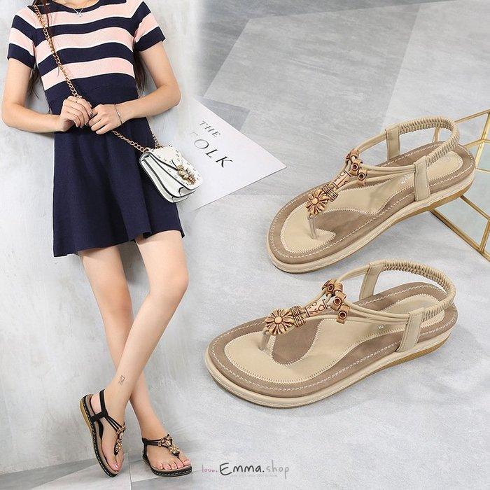 EmmaShop艾購物-波西米亞風微坡跟夾腳涼鞋/彈性鞋底/大尺碼35-44