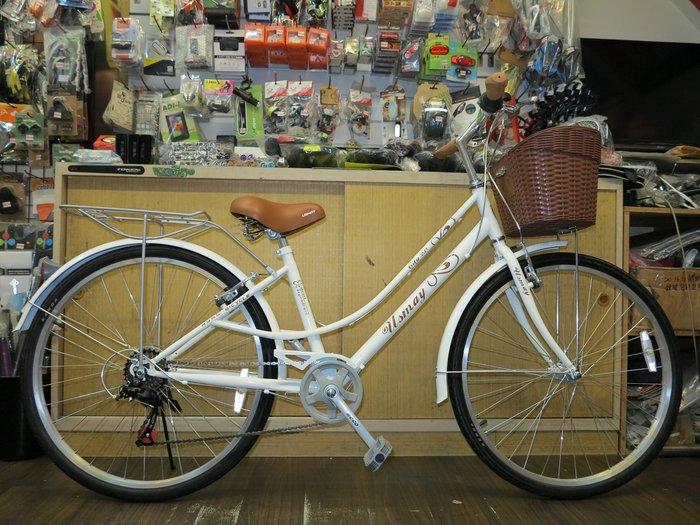 【冠鑫自行車】優世麥 USMAY CITY 2.0 26吋 SHIMANO 7速 低跨點 平把淑女車 城市休閒車 白色