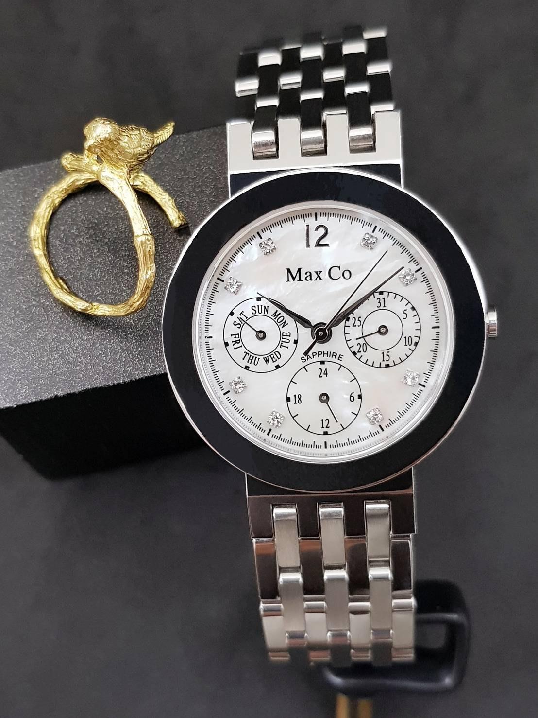 Max Co 貝殼錶面 三眼功能 不鏽鋼材質 質感腕錶【國王時計全年折扣店】MAS274-2