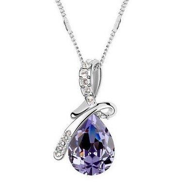 S925银饰.水晶天使之泪满庭芳锁骨项鍊--紫色