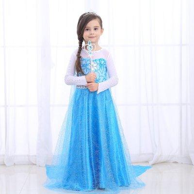 蜜寶貝*現貨 中大女童-冰雪奇緣裙艾莎elsa女王禮服 表演-萬聖節洋裝連衣裙110-150 約3-13歲-0024