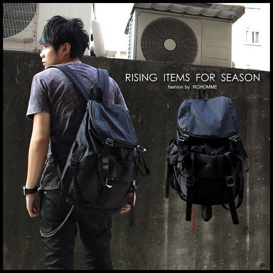 。R.C。2010' F/W 獨家設計包款!! 鎗色調釘釦 帆布拼接原黑皮革 modern時裝後背包!!~特惠850