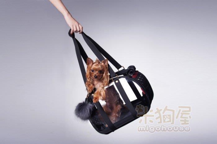 【米狗屋】免運費 IBIYAYA輕巧摺疊小瓏包-澎澎黑˙透明硬殼寵物提包/寵物包˙可收納˙小型犬貓、兔子、蜜袋鼯